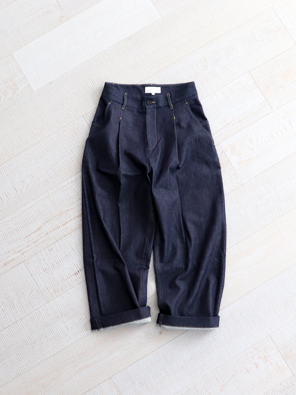 STUDIO NICHOLSON  WASHED DENIM VOLUME PANTS  -BLAKE