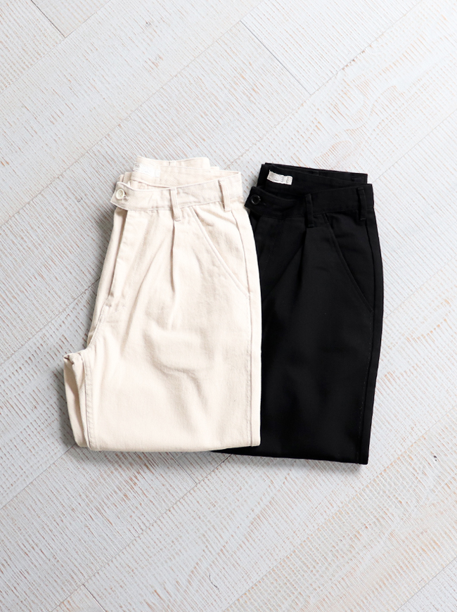 HATSKI Stitch Loose  Tapered Trousers -Katuragi