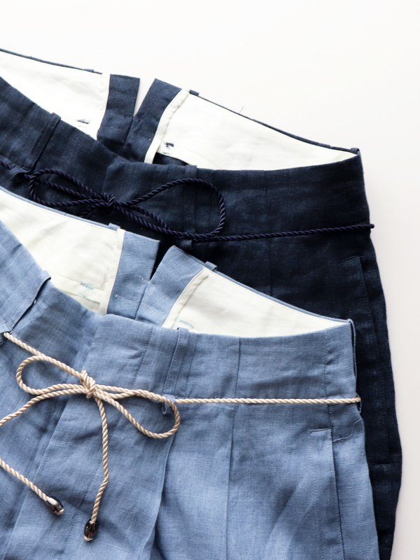 HAVERSACK Linen Poplin Belted Wide Pants