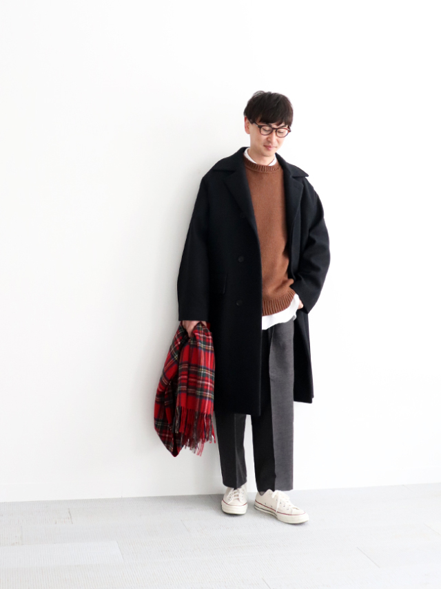 AURALEE WOOL SILK MELTON SOUTIEN COLLAR COAT