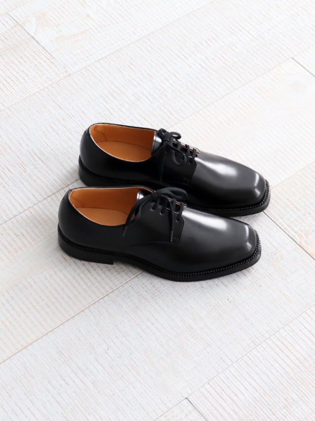 AURALEE LEATHER SHOES MADE BY FOOT THE COACHER -BLACK
