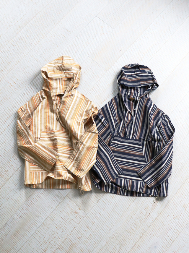 A Vontade Mexican Shirt Parka -Multi Stripe Cotton/Linen Typewriter-