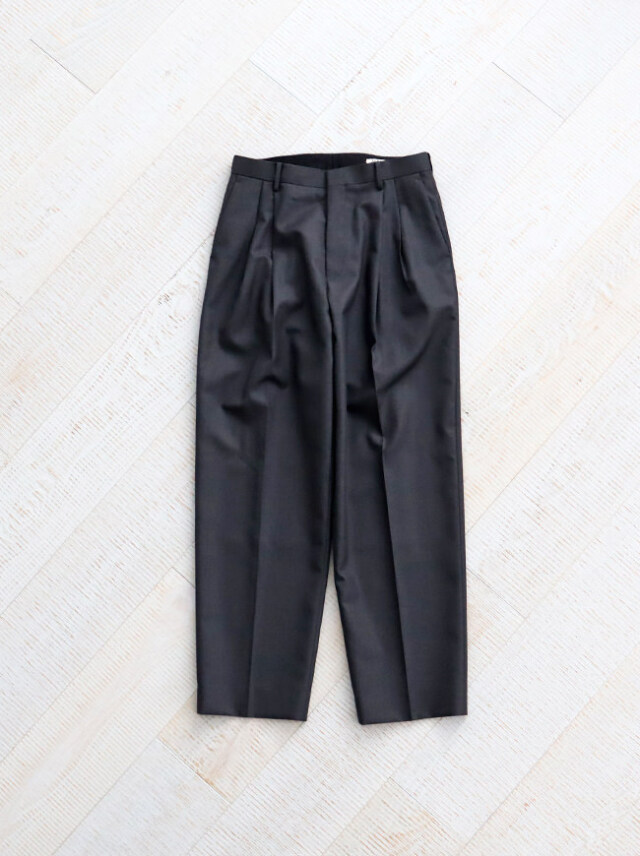 AURALEE BLUEFACED WOOL WIDE PANTS