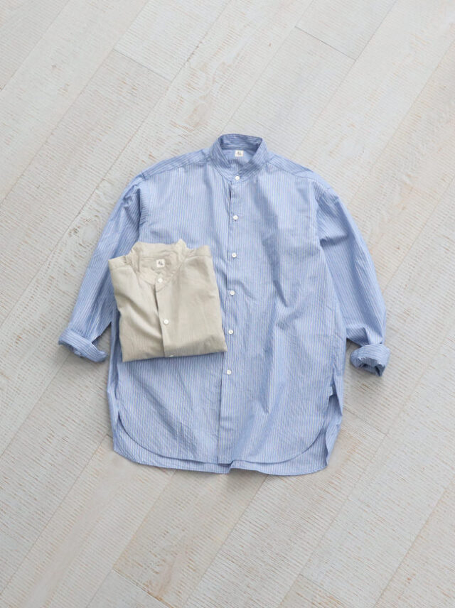 Kaptain Sunshine Cotton Silk Stand Collar Shirt