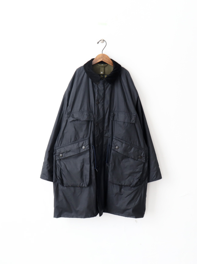Kaptain Sunshine Stand Collar Traveller Coat Made by Barbour -NAVY