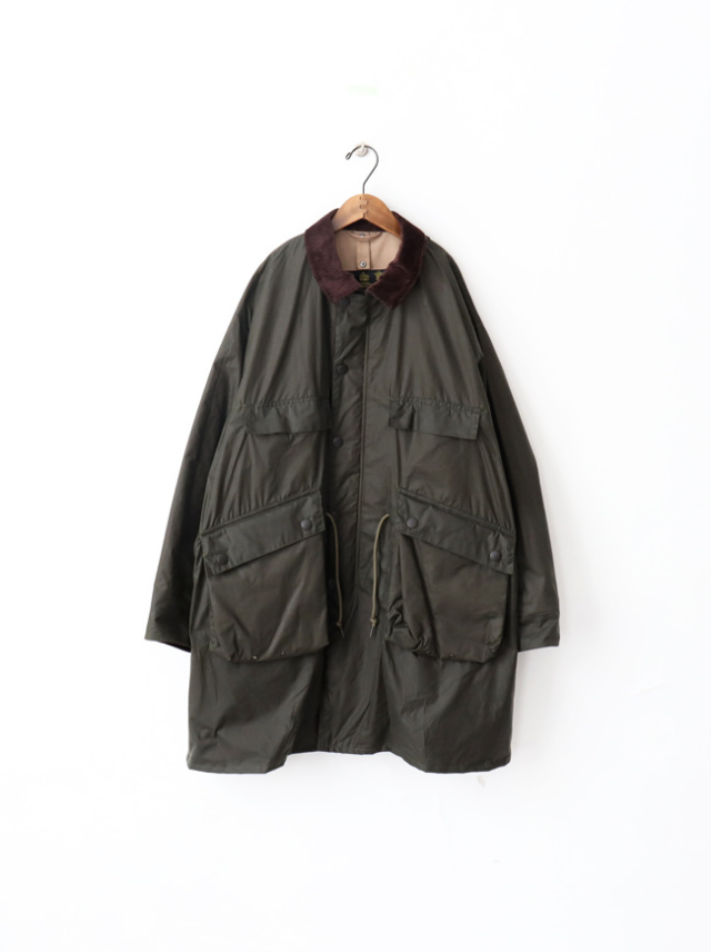 Kaptain Sunshine Stand Collar Traveller Coat Made by Barbour -SAGE GREEN