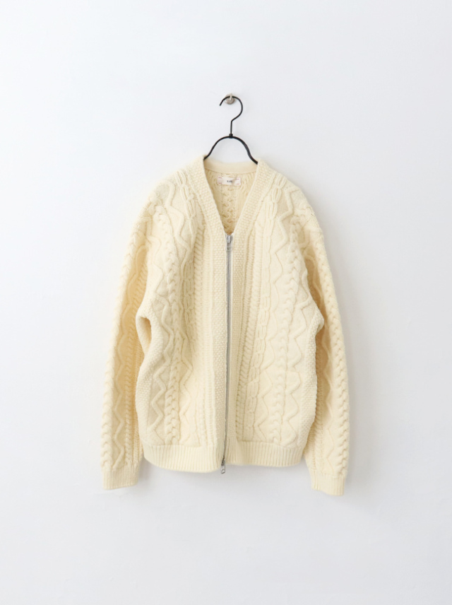 unfil french merino cable-knit zip up cardigan