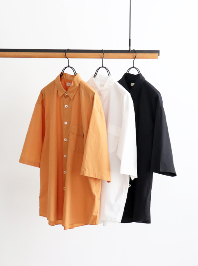 unfil washed cotton-poplin short sleeve shirt