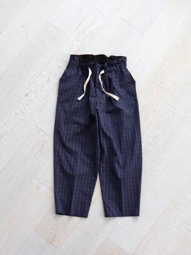 "HAVERSACK Check Wide Easy Pants ""NAVY"" -ナイモノねだり"