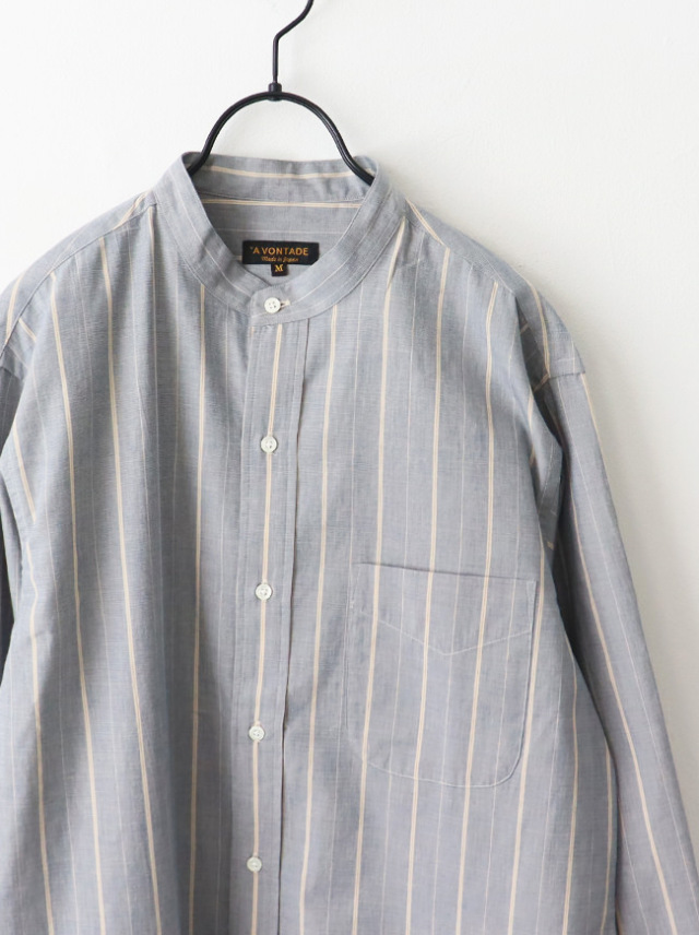 A Vontade Banded Collar Shirts -End on End Stripe-