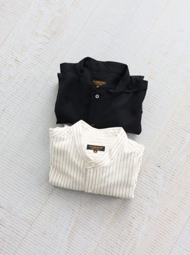 A Vontade Banded Collar Shirts -Nepped Silk Brushed Sheeting-