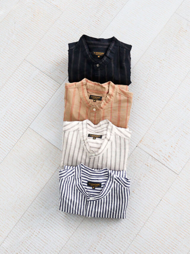 A Vontade Banded Collar Shirts -Cotton/Linen Chambray-