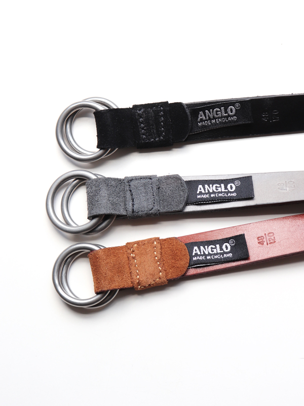 ANGLO LEATHER CRAFT  W-RING SUEDE NARROW BELT