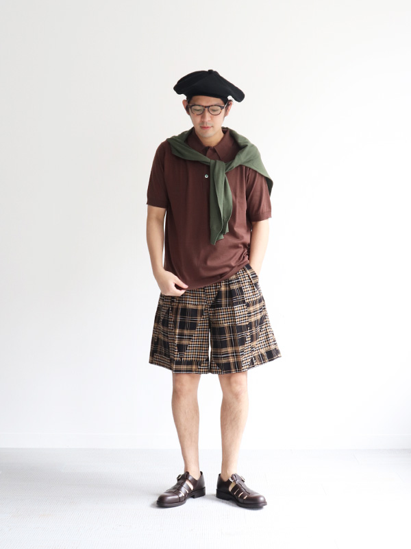HAVERSACK ATTIRE Patchwork Check Pleated Short