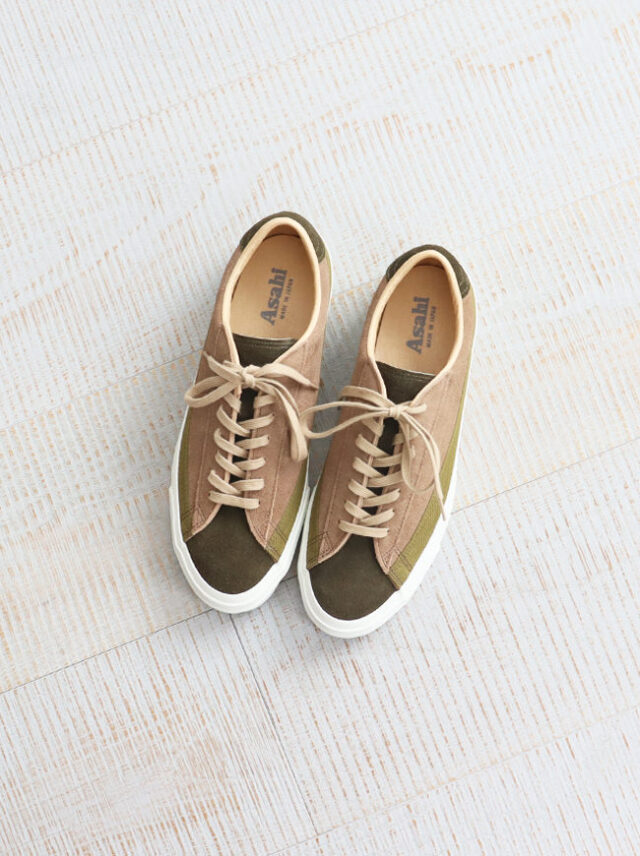 ASAHI BELTED LOW SUEDE - OLIVE/TAUPE