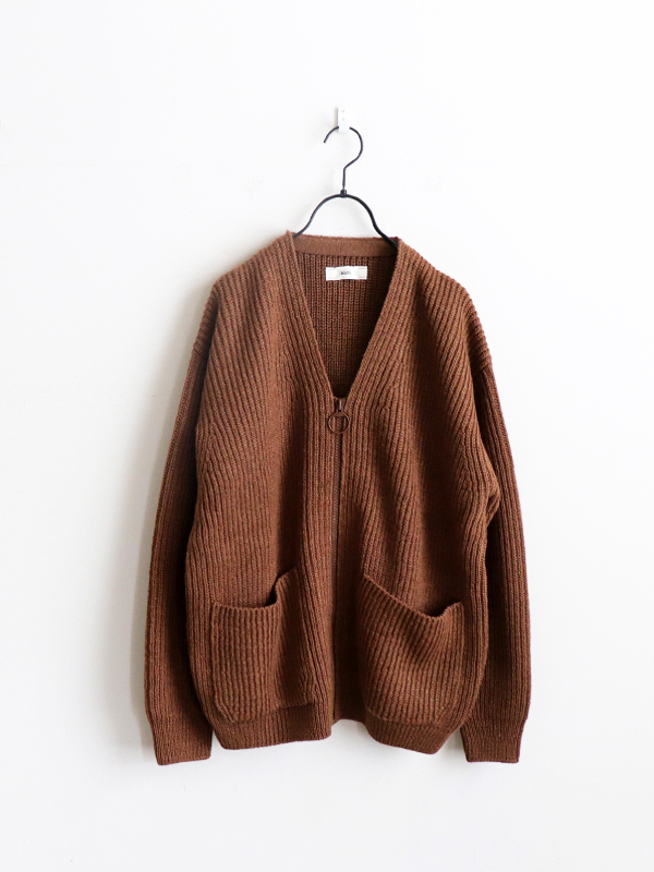 unfil british wool & silk blend zip up cardigan