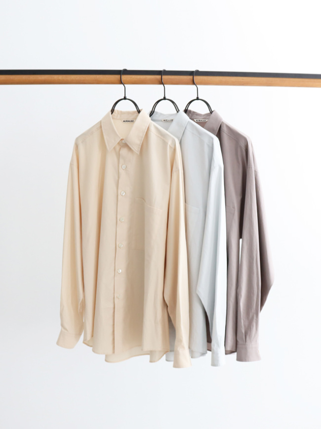 AURALEE WASHED FINX TWILL BIG SHIRTS