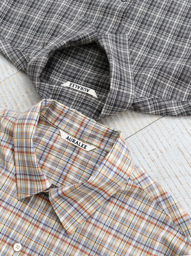AURALEE WASHABLE SUPER LIGHT WOOL CHECK SHIRTS