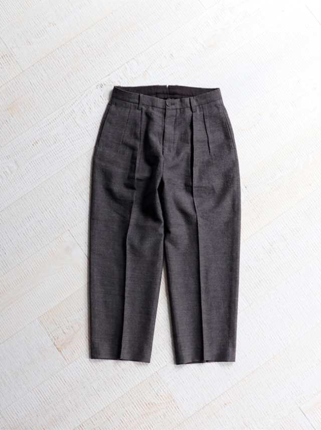 Phlannel Arles Wool Linen 2 Pleated Cropped Trousers