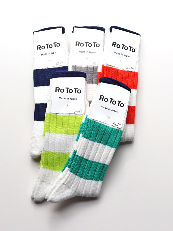 RoToTo  Wide Border Rib Socks