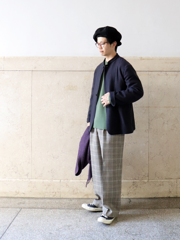 Phlannel  Double Cloth Wide Check Trousers