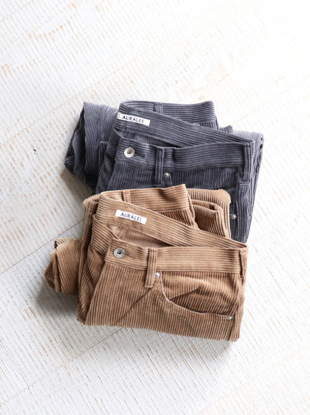 AURALEE WASHED CORDUROY 5P PANTS