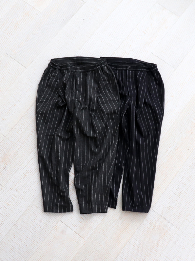 HAVERSACK Chalk Stripe Side Elastic Pleated Pants
