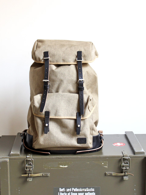 hobo Nylon Polyester Canvas Backpack 29L with HORWEEN Chromexcel Leather