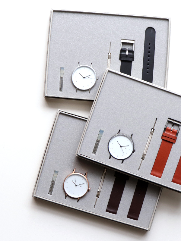INSTRMNT Leather Strap Wrist Watch