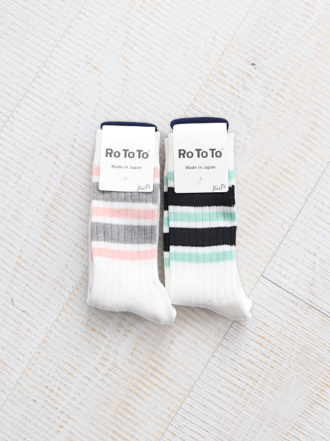 RoToTo 5 STRIPES RIBBED SOCKS