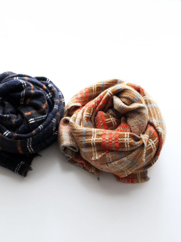 unfil checked mohair&wool blend knit Scarf