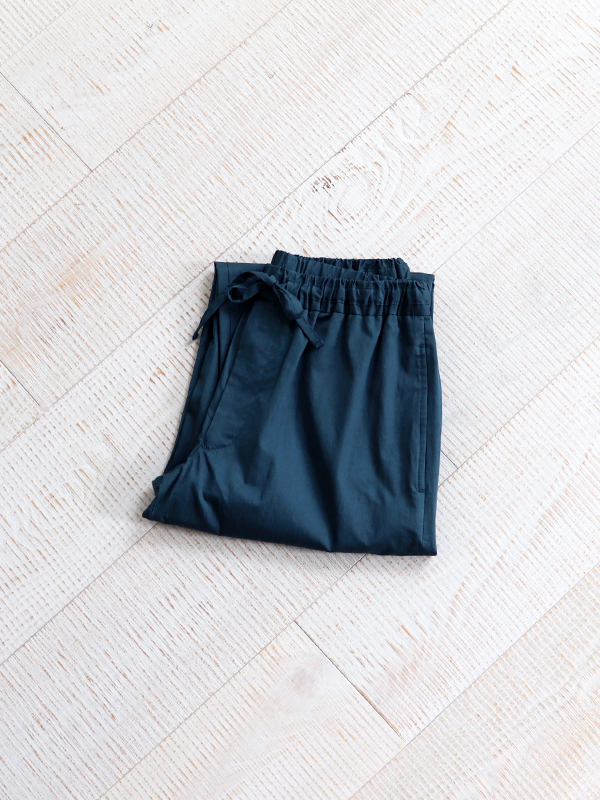 unfil washed egyptian cotton-twill drawstring wide easy pants