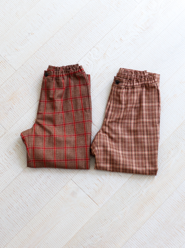 unfil checked wool-amundsen drawstring easy pant