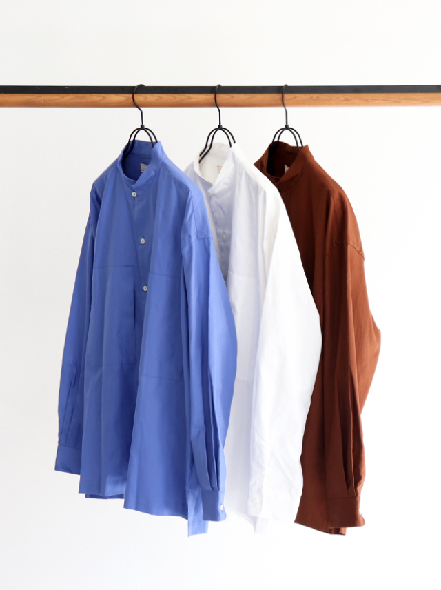 unfil cotton shuttle oxford stand collar shirt