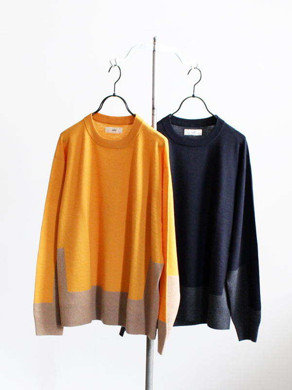 unfil fine-gauge intarsia crew neck sweater