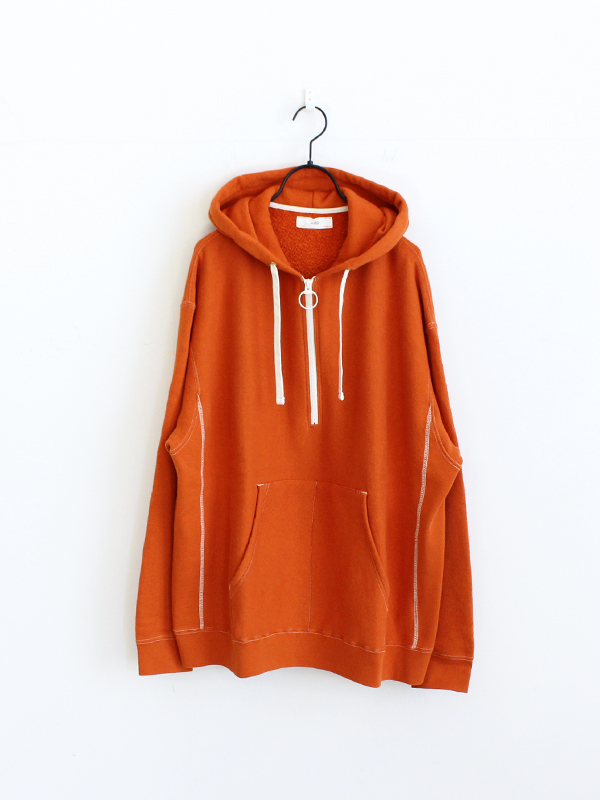 unfil cotton-terry half zip hoodie