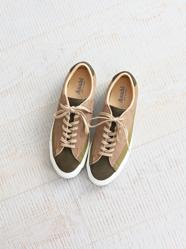 ASAHI(アサヒ) BELTED LOW SUEDE  - OLIVE/TAUPE