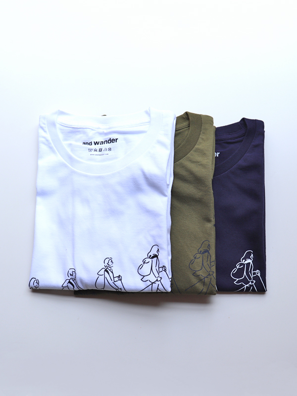 and wander(アンドワンダー)  quarted printed T by Yu nagaba