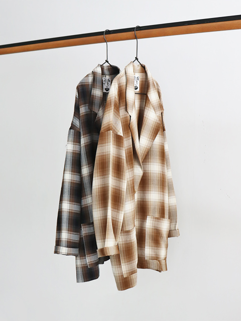 H(アッシュ)  Ombre check Jacket