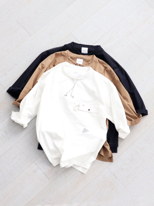 and wander(アンドワンダー) dry rip long pullover