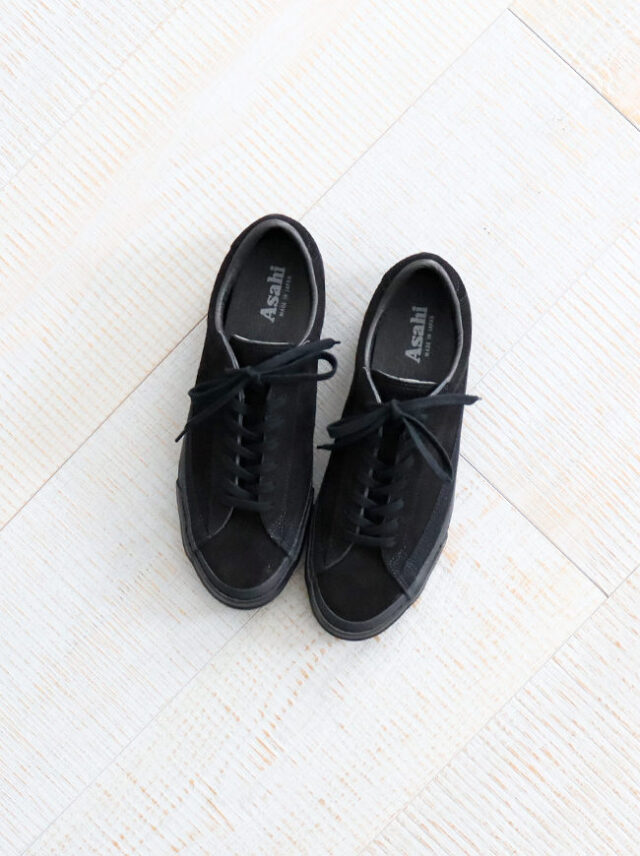 ASAHI(アサヒ) BELTED LOW SUEDE -BLACK BLACK