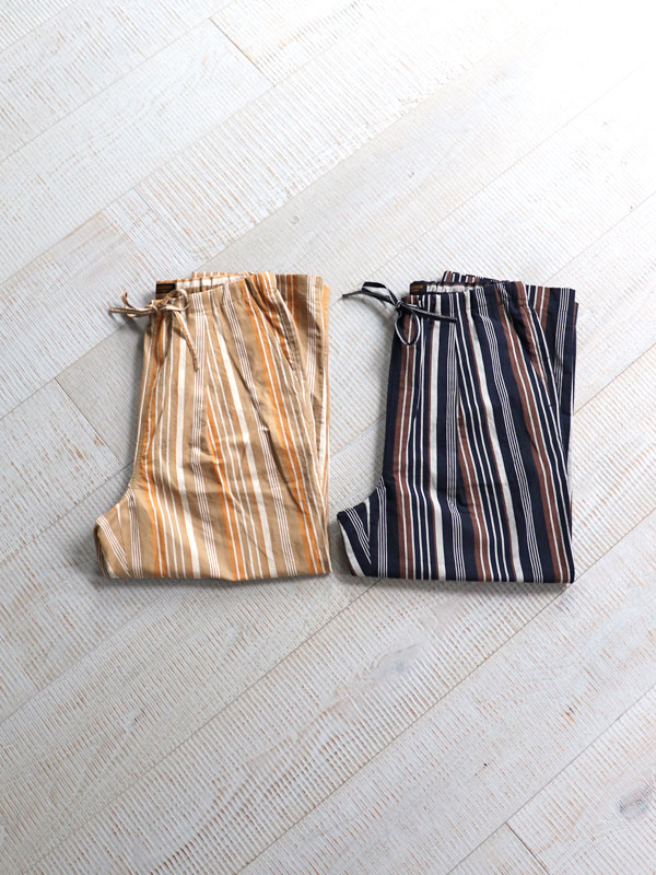A Vontade(アボンタージ) Lax Easy Pants -Multi Stripe Cotton/Linen Typewriter