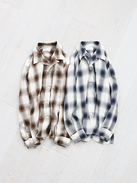 PHEENY(フィーニー)  Rayon ombre check open collar shirt