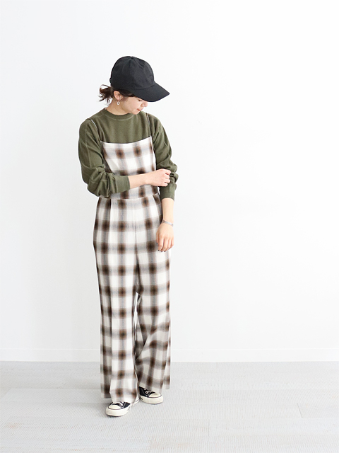 PHEENY(フィーニー)  Rayon ombre check all-in-one