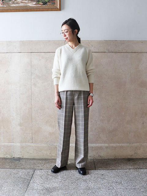 Phlannel(フランネル) Double Cloth Wide Straight Trousers - Check