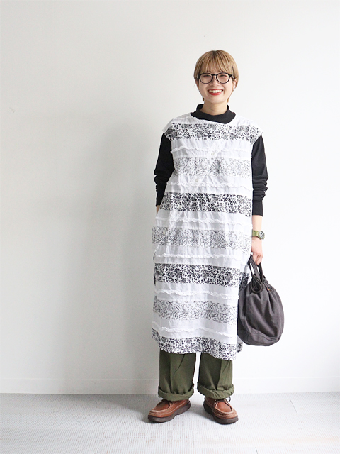 ENGINEERED GARMENTS(エンジニアードガーメンツ) Tunic Dress -White Cotton Fringed Patchwork Floral Print