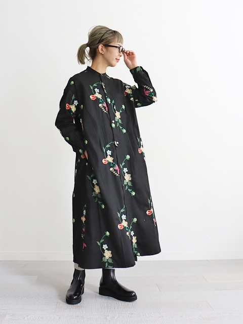 ENGINEERED GARMENTS(エンジニアードガーメンツ) Banded Collar Dress -Floral Embroidery