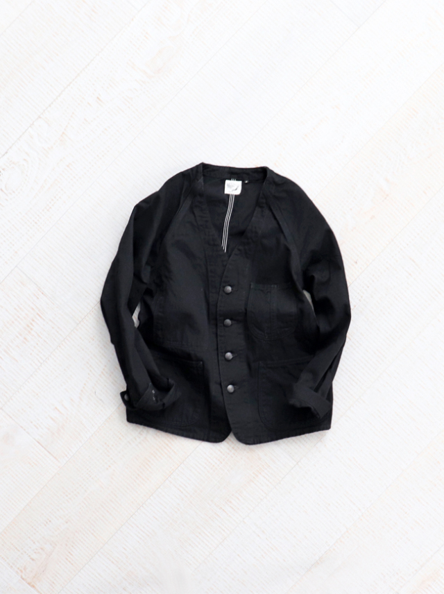 orSlow(オアスロウ) No Collar Coverall -BLACK
