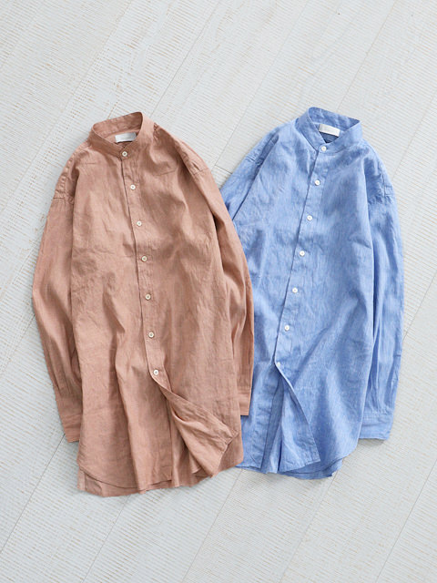 Phlannel (フランネル) American Sea Island Linen Band Collar Shirt