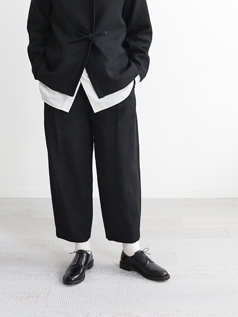 Phlannel (フランネル) Arles Wool Linen Wide Cropped Trousers